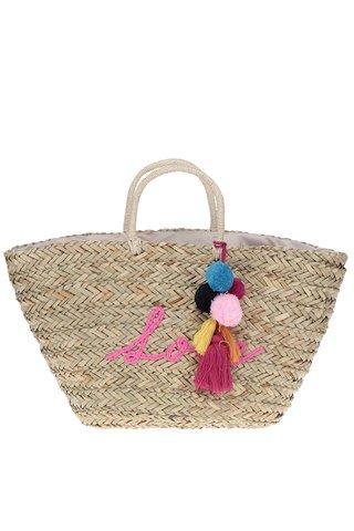 Geanta bej shopper din rafie decorata cu ciucuri Nalí