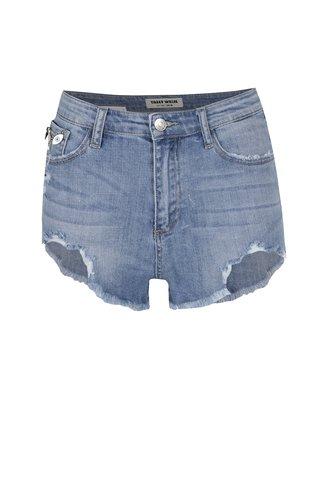 Pantaloni scurti albastru deschis TALLY WEiJL cu aspect uzat