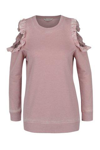 Bluza roz prafuit cu maneci lungi si decupaj pe umeri Miss Selfridge