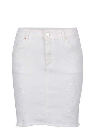 Fusta scurta alb fildes din denim VILA Juka