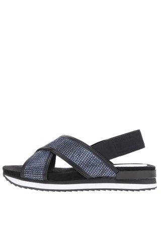 Sandale negre cu strasuri albastre si platforma mica Tamaris
