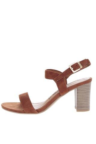 Sandale maro din piele intoarsa cu toc Tamaris