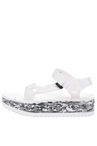 Sandale albe cu talpa inalta Teva