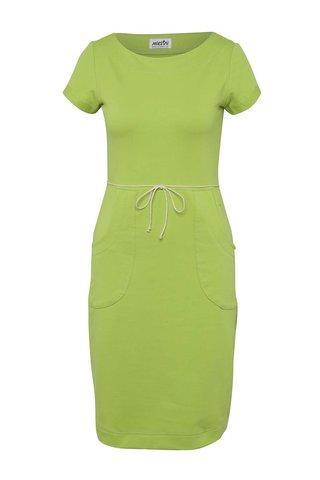 Rochie verde Miestni cu snur in talie