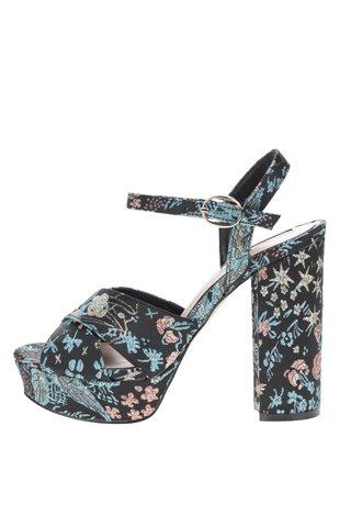 Sandale negre Miss Selfridge cu broderie florala