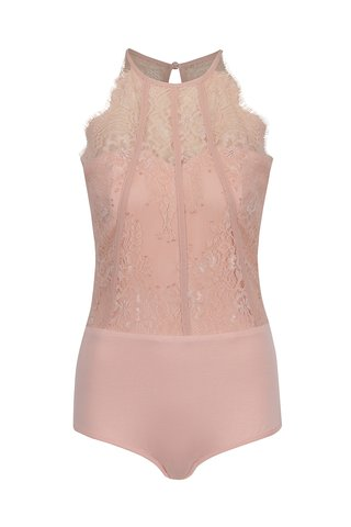 Světle růžové krajkové body Little Mistress