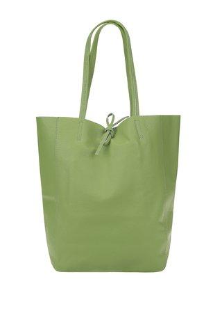 Geanta shopper verde deschis din piele - ZOOT Simple