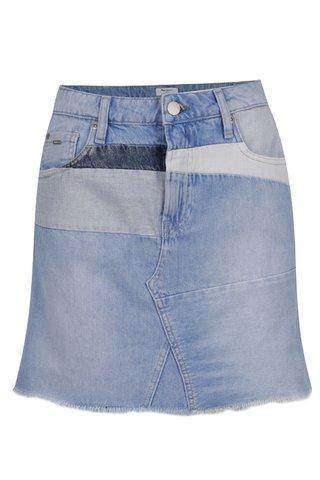 Fusta bleu Pepe Jeans Layercake Skirt din denim