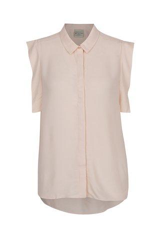 Bluza roz prafuit Selected Femme Palma cu volane decorative