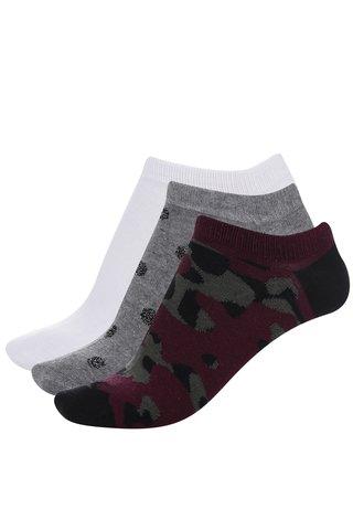 Sada tří šedých, bílých a vínových ponožek TALLY WEiJL