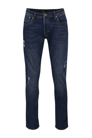 Tmavě modré slim fit džíny s potrhaným efektem Jack & Jones Tim