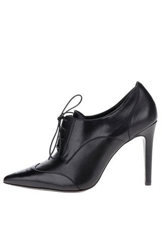 Pantofi negri din piele cu siret si toc cui Högl