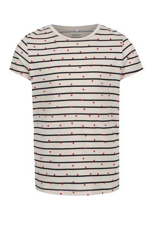 Tricou alb pentru fete  Name it Volta print cu dungi si buline