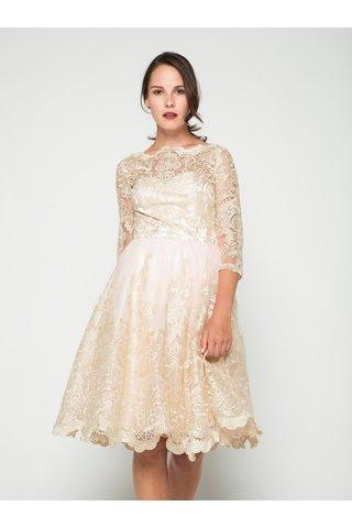 Světle růžové krajkové šaty s 3/4 rukávy Chi Chi London