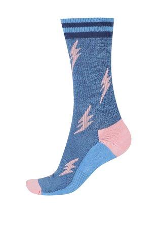 Modré unisex žíhané vzorované ponožky Happy Socks Athletic Flash