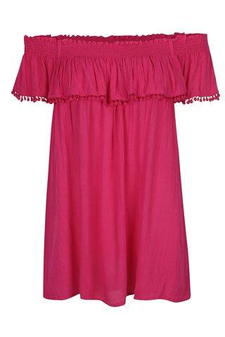 Bluza roz inchis cu volanas si decolteu pe umeri Dorothy Perkins Curve
