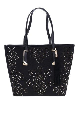 Geanta shopper neagra cu tinte decorative aurii -  Miss Selfridge