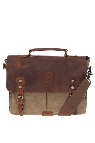 Geanta maro & bej cu detalii din piele Urban Bag