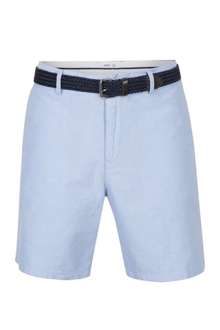 Pantaloni scurti bleu chino cu centura in talie -  Burton Menswear London