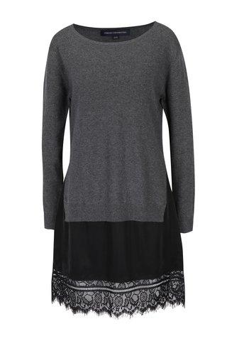 Šedé svetrové šaty s krajkovým lemem French Connection Melba