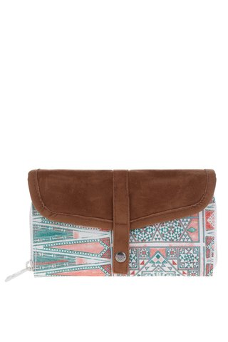 Hnědo-krémová vzorovaná peněženka s klopou Roxy Carribean