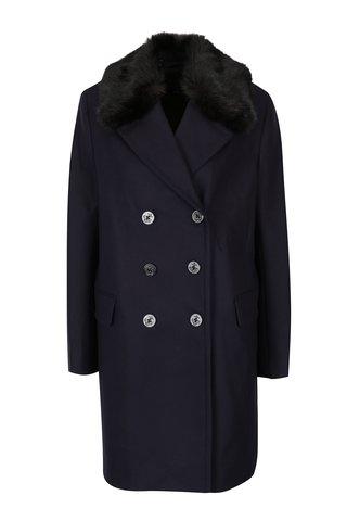 Palton negru din lana si casmir cu guler de blana  French Connection Platform