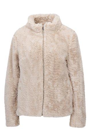 Jacheta bej din blana artificiala cu fermoar Dorothy Perkins