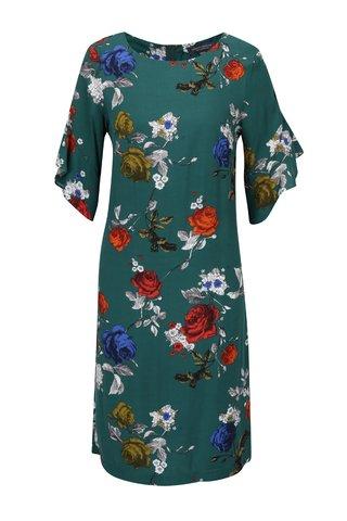 Rochie midi verde cu print floral si maneci cu volane Dorothy Perkins Tall