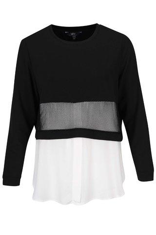 Bluza crem&negru cu aspect 2in1 - Ulla Popken