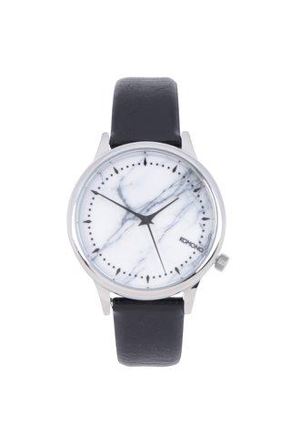 Ceas unisex argintiu&negru cu curea din piele naturala - Komono Estelle Marble