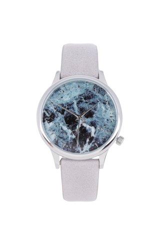 Ceas argintiu&gri cu curea din piele naturala - Komono Estelle Marble