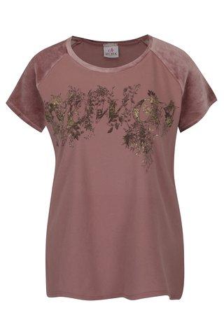 Tricou roz cu print - DEHA