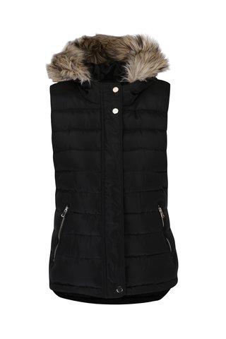 Černá prošívaná vesta s kapucí a umělým kožíškem Dorothy Perkins