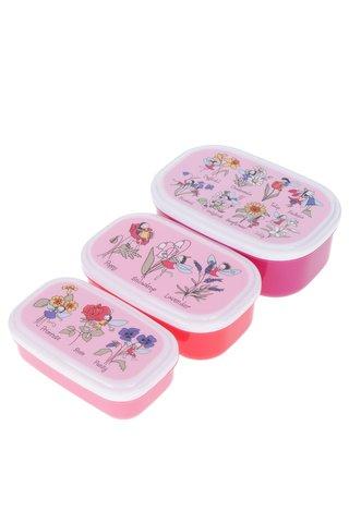 Set tří červeno-růžových holčičích svačinových boxů Tyrrell Katz Flower Fairy