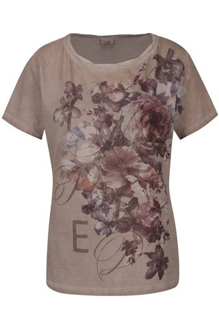 Tricou bej cu print floral  - DEHA