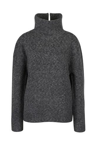 Pulover gri melanj din amestec de lana cu guler inalt- French Connection Ada