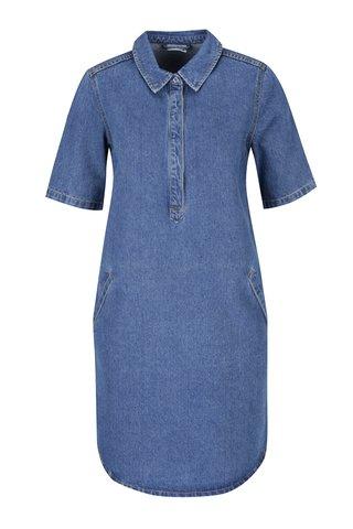 Rochie camasa albastra din denim cu maneci medii Noisy May Bell
