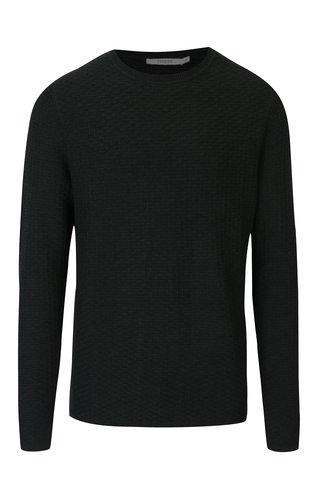 Pulover tricotat verde inchis pentru barbati - Jack & Jones Brick