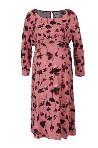 Rochie roz cu maneci 3/4 pentru gravide Mama.licious Leaf