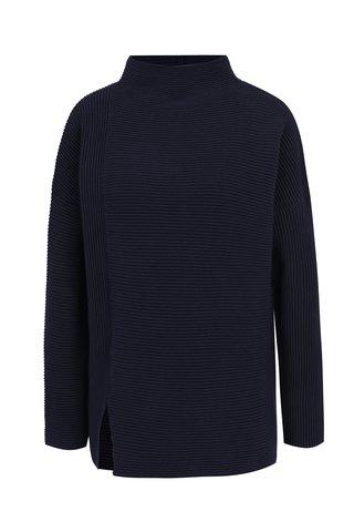 Tmavě modrý volný žebrovaný svetr s rozparkem French Connection Sunday