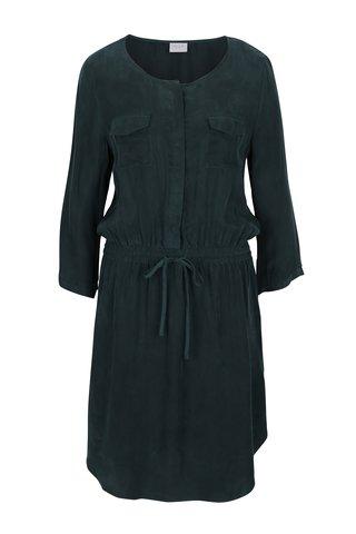 Tmavě zelené košilové šaty s 3/4 rukávem a zavazováním v pase VILA Cubra