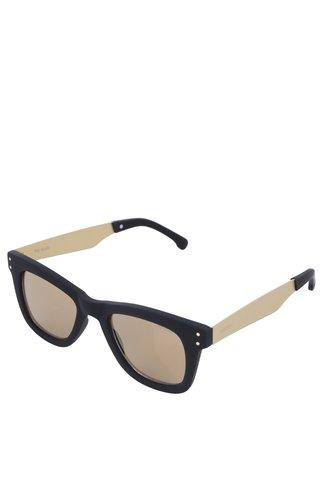 Černé unisex sluneční brýle s nožičkami ve zlaté barvě Komono Allen