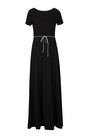 Rochie maxi neagra cu buzunare miestni