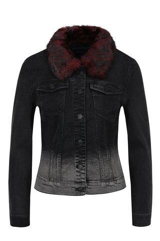 Jacheta neagra din denim cu guler din blana artificiala ONLY Chris