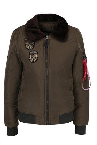 Jacheta bomber kaki cu guler de blana artificiala pentru femei - Jimmy Sanders