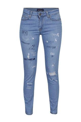 Blugi skinny cu print si aspect uzat pentru femei - Jimmy Sanders