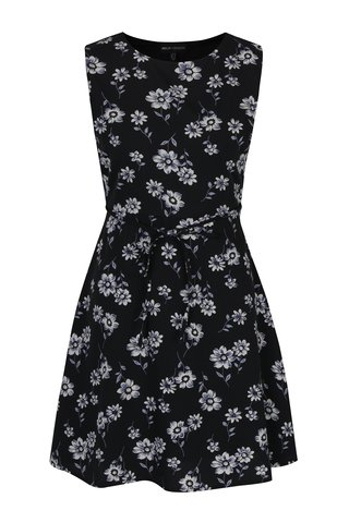 Rochie neagra cu print floral si cordon Mela London