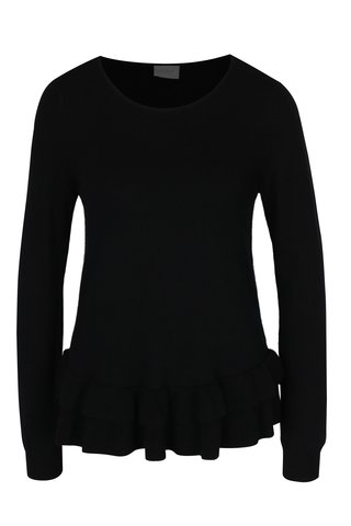 Černý svetr s volány VILA Vicka