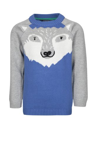 Šedo-modrý klučičí svetr s vlkem Tom Joule Howl