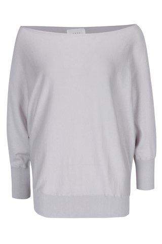 Šedý volný asymetrický svetr s netopýřími rukávy YAYA